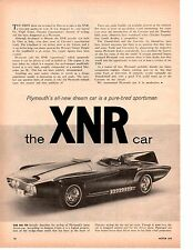 1960 PLYMOUTH XNR EXPERIMENTAL CAR / VIRGIL EXNER ~ ORIGINAL 2-PAGE ARTICLE