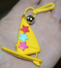 Vintage 80's Plastic Charm Bell Clip Charms Wind Surfing Surfboard Sailboat Ylw