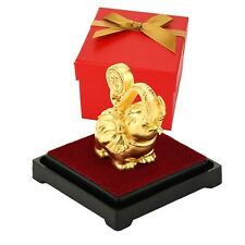 Lucky Elephant Feng Shui 24K Gold Foil Figurine Ornaments Home Office Decoration