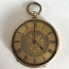 Lovely Antique 18ct Solid Gold Fob / Pocket Watch Working A/F 3.6cm Diameter