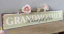 Vintage Grandmother Green Metal Plaque Shabby Chic Retro Gift Heart Full Of Love