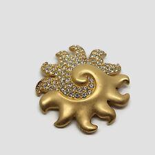 Swarovski Signed Swan Logo Pave Rhinestone Matte Gold Tone Sun Pendant