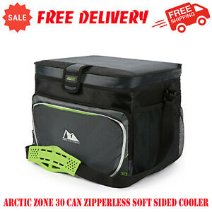 Arctic Zone 30 Can Zipperless Soft Sided Cooler With Hard Liner, Grey and Green