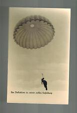 Mint WW2 Germany Luftwaffe Paratrooper in Sky Postcard RPPC Fallschirmjager
