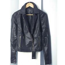 Black pu faux leather quilted arm and yoke moto biker jacket BA302