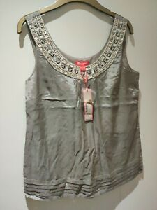 """Monsoon Ladies sleeveless top size 10 Grey & embroidered Pit2Pit 17"""" Viscose"""