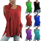 Womens Long Sleeve Cold Shoulder T-Shirt Ladies Loose Slit Blouse Casual Tops