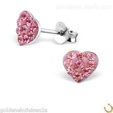 Kristall Herz Rosa Ohrstecker 925 Echt Silber Ohrringe Kinder Top  Geschenkidee 14f5390e4f