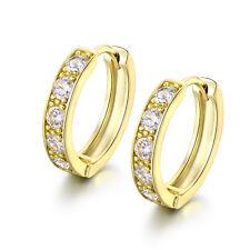 HUCHE Huggies Hoop Sapphire Diamond 18K Gold Filled Women Wedding Party Earrings