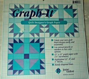 June Tailor Graph-It Designer's Graph Paper Pads JT427 Two Pads Total 36 Sheets