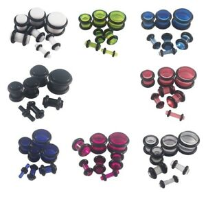 Acrylic Ear Plugs Stretching Tunnels Earlets Gauges With O-Rings 2mm - 10mm