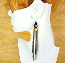 Brass Metal Resin Seed Beads Dangle Earrings Statement Jewelry Long Drop Earring
