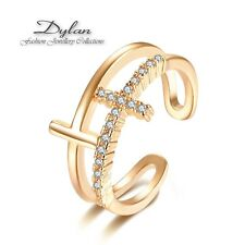 Brand New Gold Plated Double Cross  Adjustable Open Ring Exquisite WITH ZIRCON