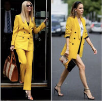 ZARA NEW WOMAN DOUBLE-BREASTED BUTTONED BLAZER JACKET YELLOW L XL 2579/703