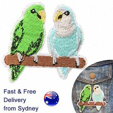 2 Budgie birds Iron on patch feather budgerigar bird perch iron-on patches