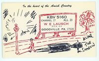 QSL Ham Radio Amish Country KBV 5160 Card GOODVILLE PA Lancaster County Postcard