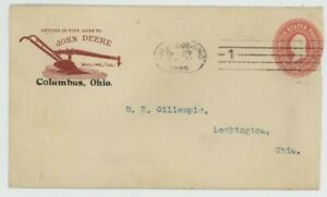 Mr Fancy Cancel 2c ENTIRE ILLUSTRATED AD COVER JOHN DEERE PLOWS COLUMBUS OH 1899