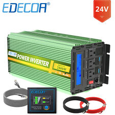 EDECOA Power Inverter 2000W 4000W 24V dc to120V ac with LCD Cables Remote Car