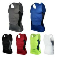 Mens Compression Base Layer Sleeveless Sports Vest Gym Fitness T-Shirts Tank Top