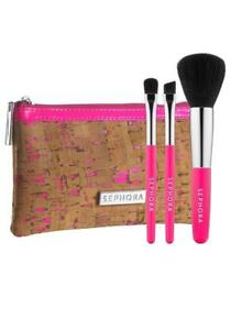 SEPHORA Pocket Paradise 4 Pc Makeup Brush Clutch Set in Case LIMITED EDITION NEW