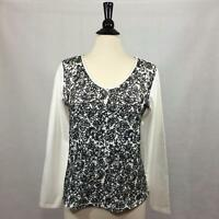 Coldwater Creek Womens Top Size Medium Long Sleeve Sequined Cotton Blend 48