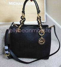 MICHAEL KORS Cynthia Small NS Leather Satchel Bag Crossbody Black New Tag