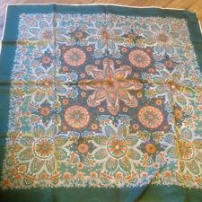 Vintage Pretty Paisley Square Scarf EMERLAD GREEN Hand Rolled Edge Acetate Satin