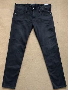 "REPLAY ANBASS Men's Slim Fit Stretch Denim Black Jeans, W36"", L32"", £125"
