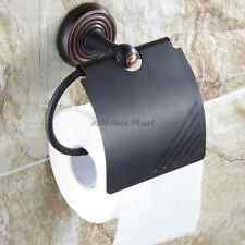 Bathroom Toilet Paper Roll Holder Wall Mount Tissue Rack with Cover in ORB Black