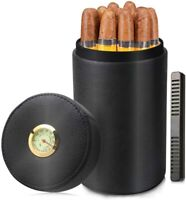 Cigar humidor jar,Leather Cedar Wood Cigar Canister Portable Cigar case