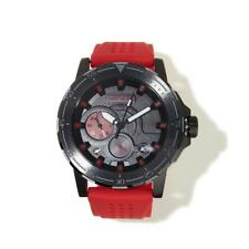 Drone Timepieces Black Stainless Steel Red Perforated Silicone Strap Watch HSN