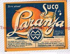 1950 BRASIL Jaraguá do Sul Max Wilhelm Suco De Laranja Label