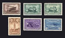 Canada #257-#262 10c-$1 1942 VF *MLH* 6 items
