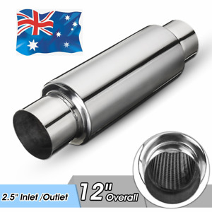 2.5'' Inlet Outlet 8'' Long Exhaust Turbine Muffler Resonator Stainless Steel AU