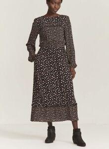 Fat Face Womens Black Ditsy Midi Dress Size 20 RRP £59.50 Plus Size