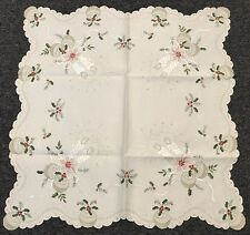 """Embroidered Christmas Silver Candle End Table Topper Tablecloth 36x36"""" - Cr"""