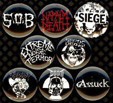 Grind 8 NEW buttons pins badges SOB Siege ENT napalm death disrupt assuck doom