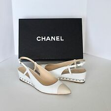 CHANEL WHITE WEDGE SHOES WITH TAN CAP TOE AND CC LOGO -  SIZE 37