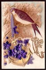c1910 gold trim bas relief Bird Anchor Violets Birthday greetings postcard