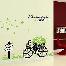 Removable  Mural Love Bicycle Bike Leave Pattern Decor Art Decal Wall Sticker SY