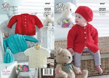 KINGCOLE 4947- Baby Aran KNITTING PATTERN 14-22inch - Not the finished garments