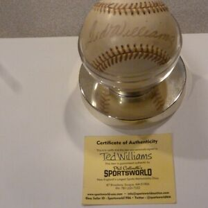 VINTAGE TED WILLIAMS SIGNED AUTOGRAPHED SPAULDING BASEBALL WITH COA