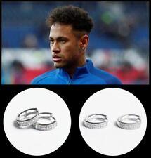 Men's/Boy's: NEYMAR 18ct White Gold Plated, 5mm Multi-Diamond Huggie Earrings