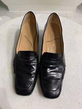 Ralph Lauren Women's Black Leather Pumps Penny Loafers Heel Shoes, 11B