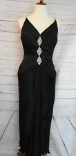 BEAUTIFUL VINTAGE GOWN DRESS SAKS FIFTH AVENUE SZ 12 LACK WITH RHINESTONES