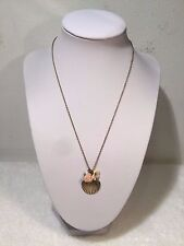 Necklace Sea Shell Pendent & Flower Charms & Gold Tone Chain