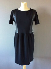 """ROBE POLYESTER/CUIR """"SANDRO"""" T1 - TBE, PEU PORTEE"""