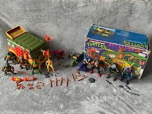 90'S TURTLE FIGURES - ALL 4 TURTLES - APRIL - SPLINTER - SHREDDER + PARTY WAGON