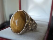 UNUSUAL Vintage Silver Tiger's Eye  Ring  c.1960/70s   -  size U