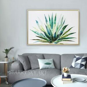 Artist Hand-Painted High Quality Green Plant Aloe Succulent Oil Painting Canvas